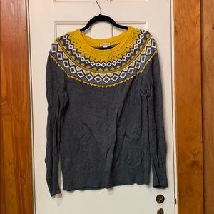 Merona Grey and Yellow Sweater